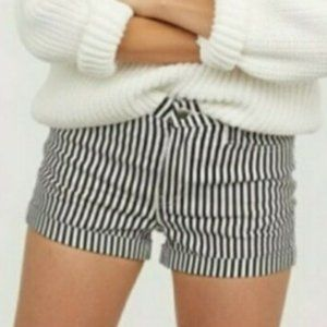 H&M Black and White Pinstriped Cuffed Shorts